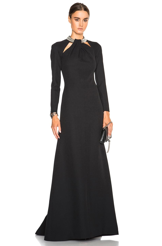 Image 1 of Saint Laurent Embellished Neck Gown in Black