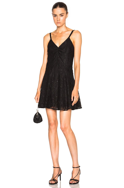 Image 1 of Saint Laurent Gothic Roses Frilly Lingerie Dress in Black
