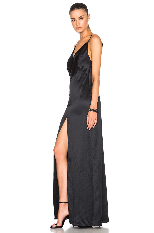 Saint Laurent Draped Satin Lingerie Gown in Black | FWRD