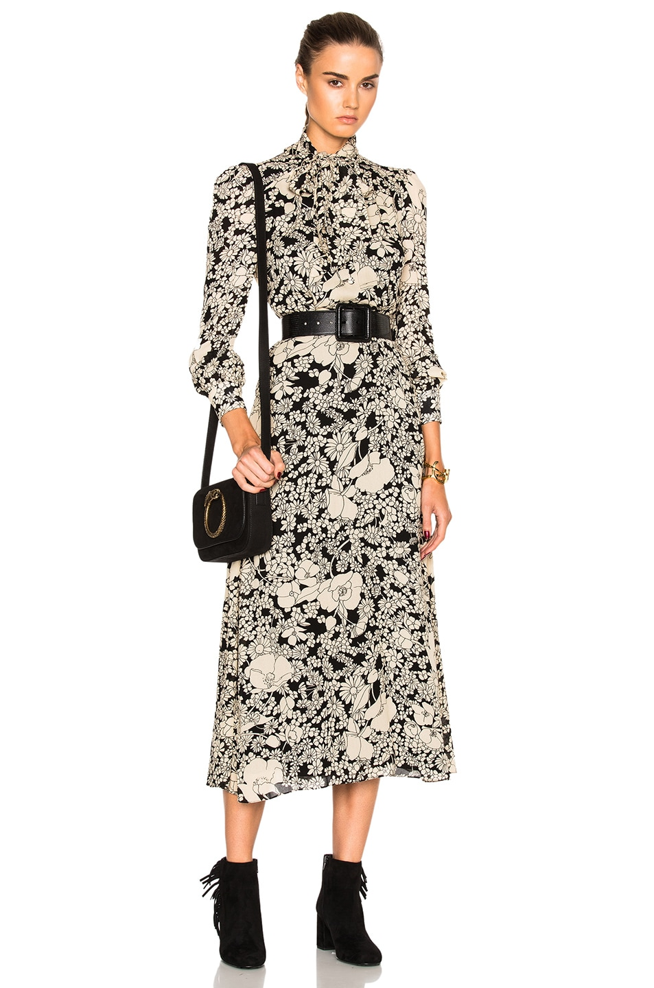 Image 1 of Saint Laurent 70s Floral Long Dress in Black & Vanilla