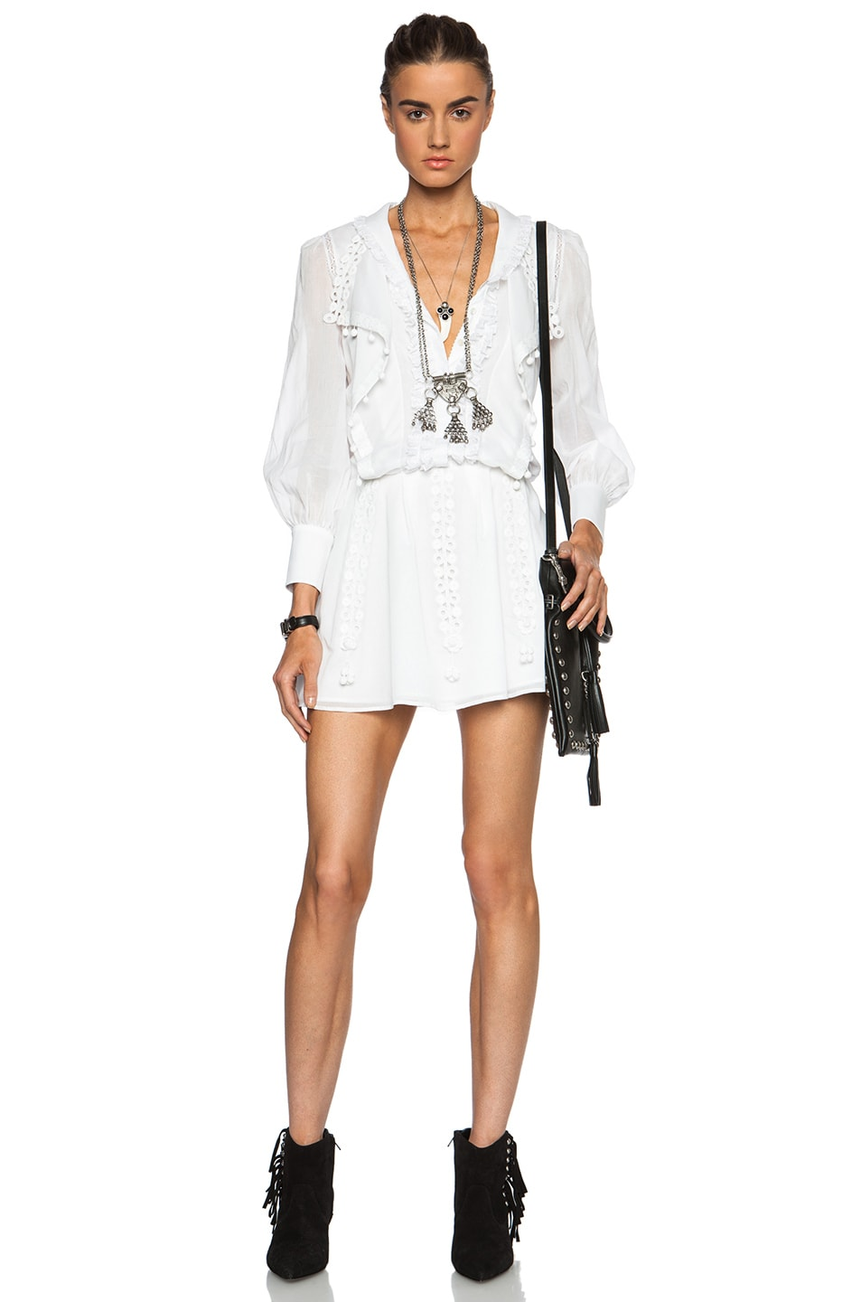 18ddf5a1d4 Image 1 of Saint Laurent Frill and Pom Pom Cotton Mini Dress in White