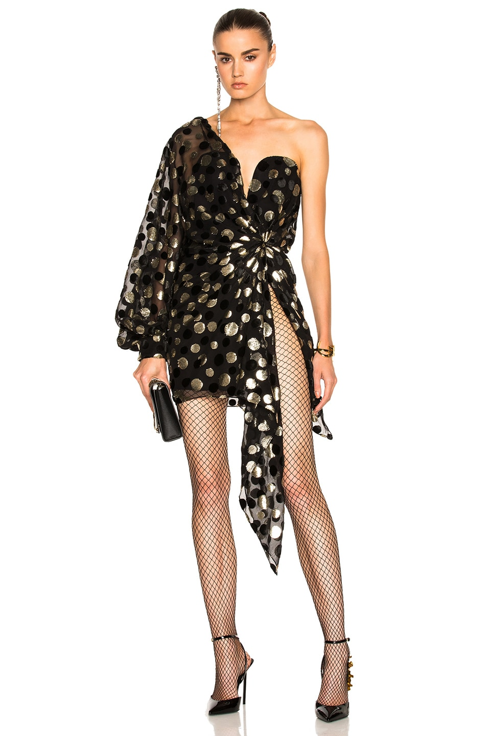 Image 1 of Saint Laurent Bustier Asymmetrical One Shoulder Dress in Black & Light Gold