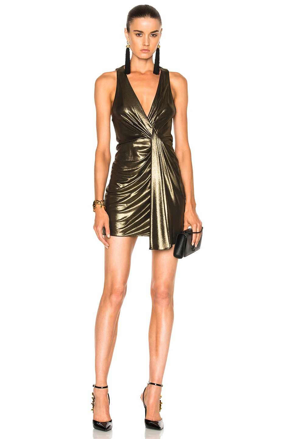 Saint Laurent Jersey Twist Front Sleeveless Dress in Metallics
