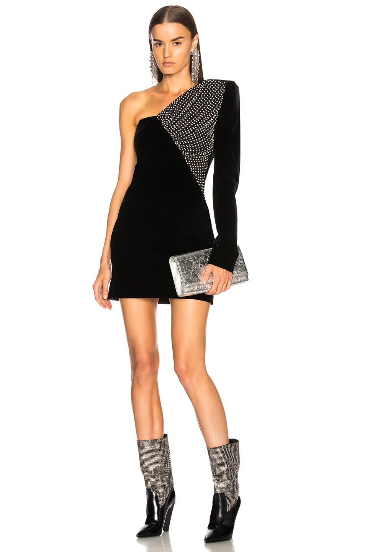 f26120fed7 Image 1 of Saint Laurent Embellished Velvet Cupro Compact One Shoulder Dress  in Black