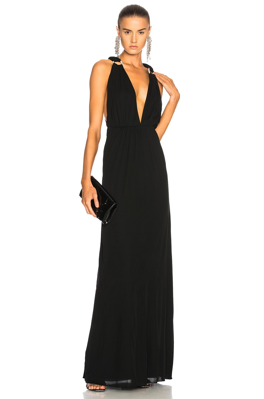 Saint Laurent Jersey Mousseline Maxi Dress in Black