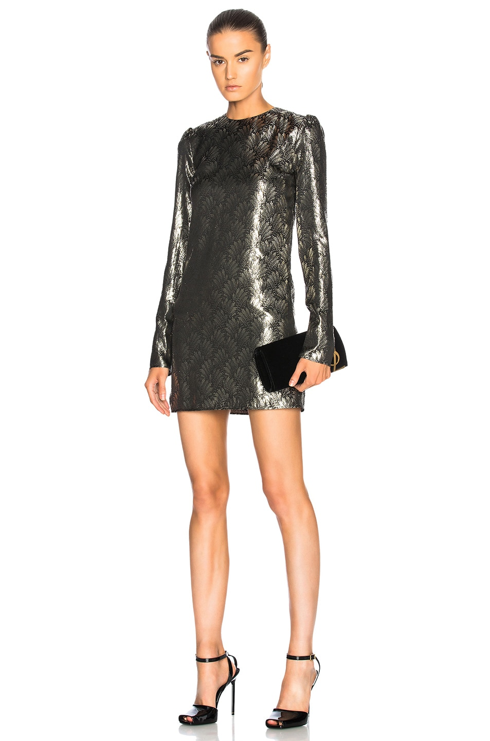 Image 1 of Saint Laurent Printed Long Sleeve Mini Dress in Black & Gold