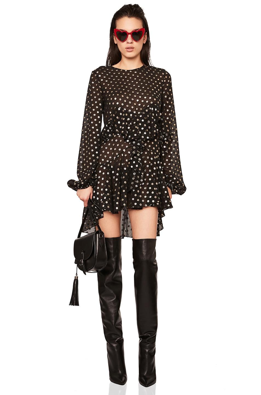 Image 1 of Saint Laurent Polka Dot Mini Dress in Black & Gold