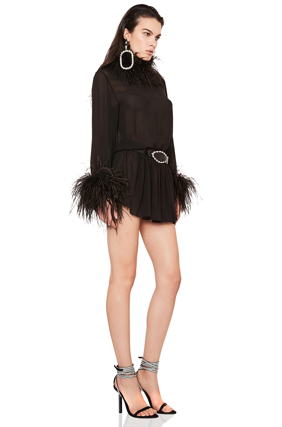 Image 2 of Saint Laurent Feather Trim Washed Silk Mini Dress in Black