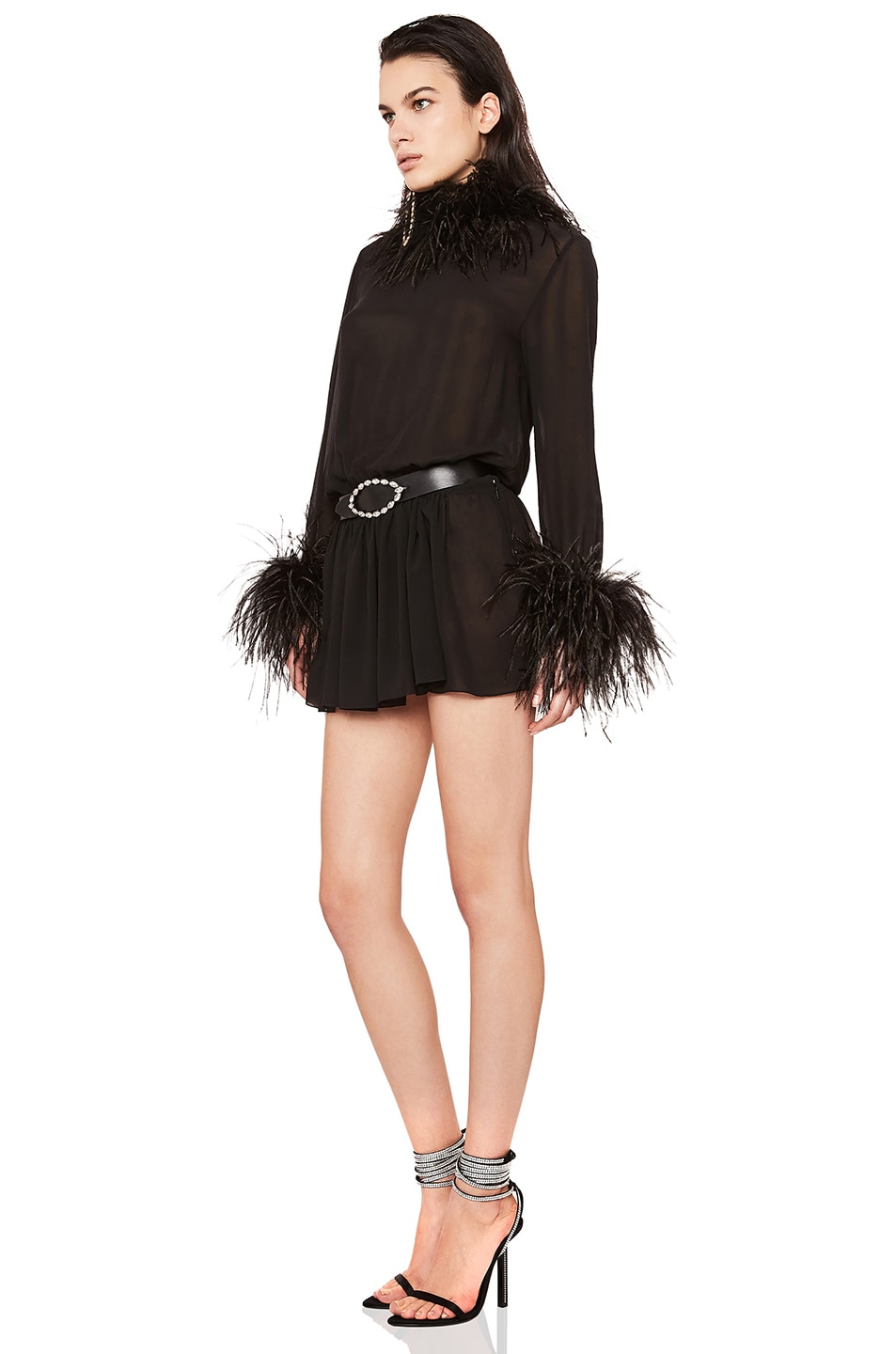 Image 3 of Saint Laurent Feather Trim Washed Silk Mini Dress in Black
