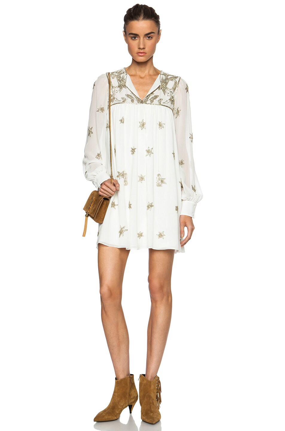 Image 1 of Saint Laurent Embroidered Silk Georgette Peasant Dress in Shell