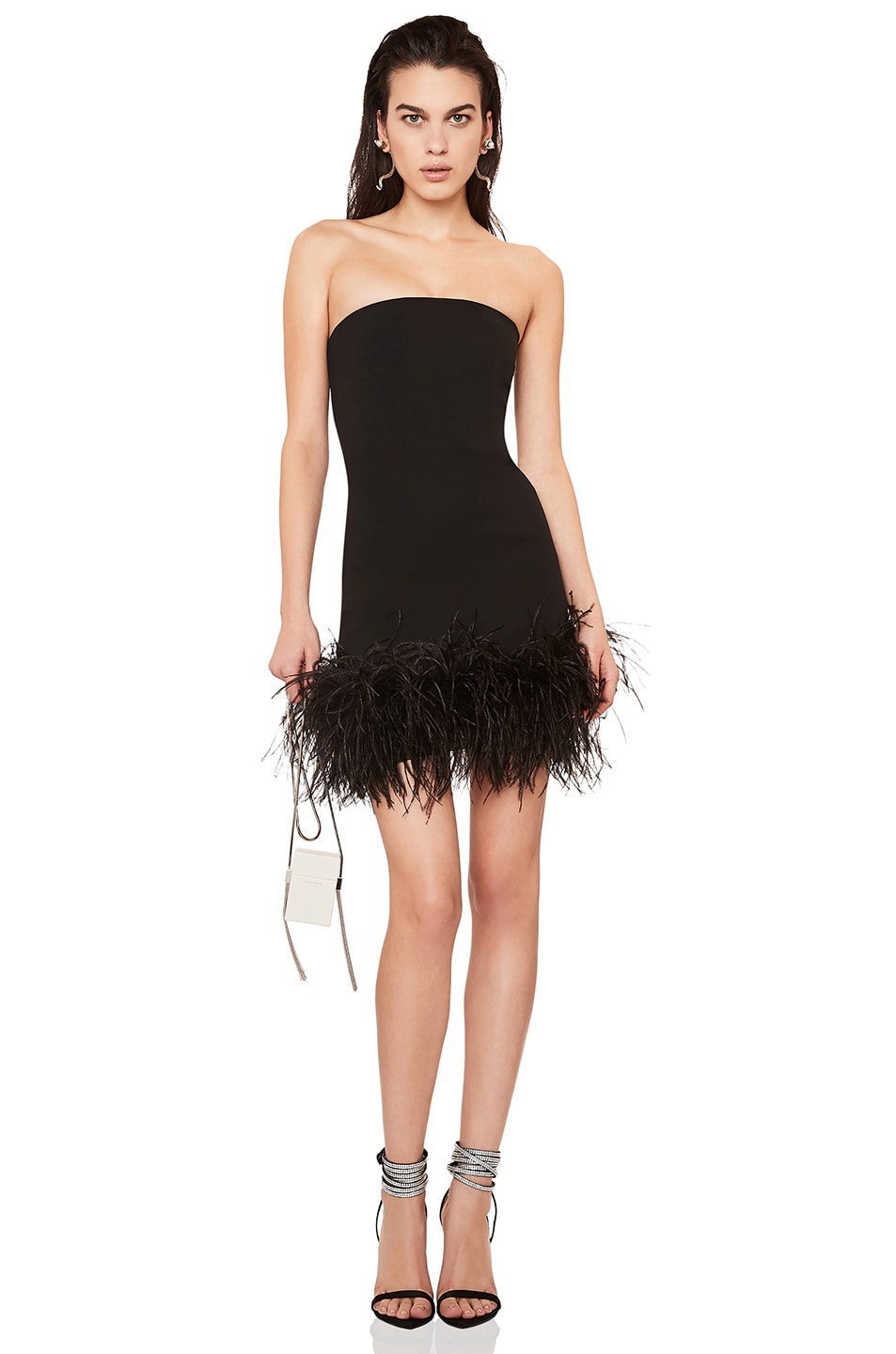 Image 1 of Saint Laurent Feather Hem Strapless Crepe Dress in Black & Black