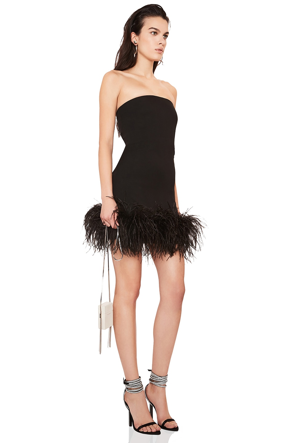 Image 2 of Saint Laurent Feather Hem Strapless Crepe Dress in Black & Black
