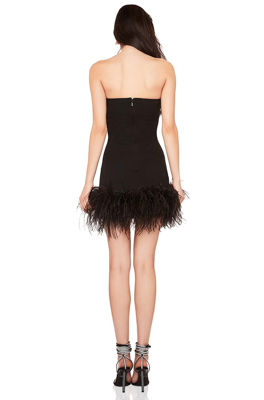 Image 3 of Saint Laurent Feather Hem Strapless Crepe Dress in Black & Black