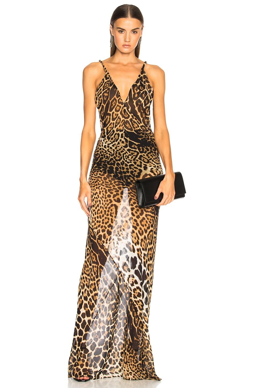 Leopard-print georgette dress Saint Laurent How Much Designer Buy Online Cheap Cost Cheap Online KqQfZz