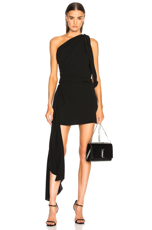 Saint Laurent One Shoulder Draped Mini Dress in Black
