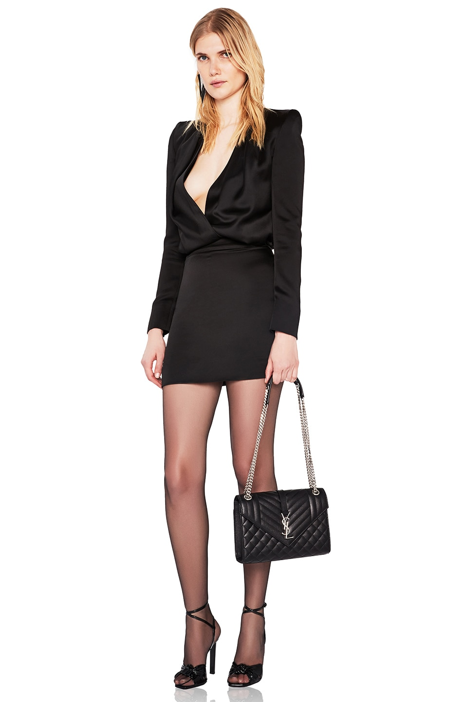 SAINT LAURENT Dresses Satin Plunging Mini Dress