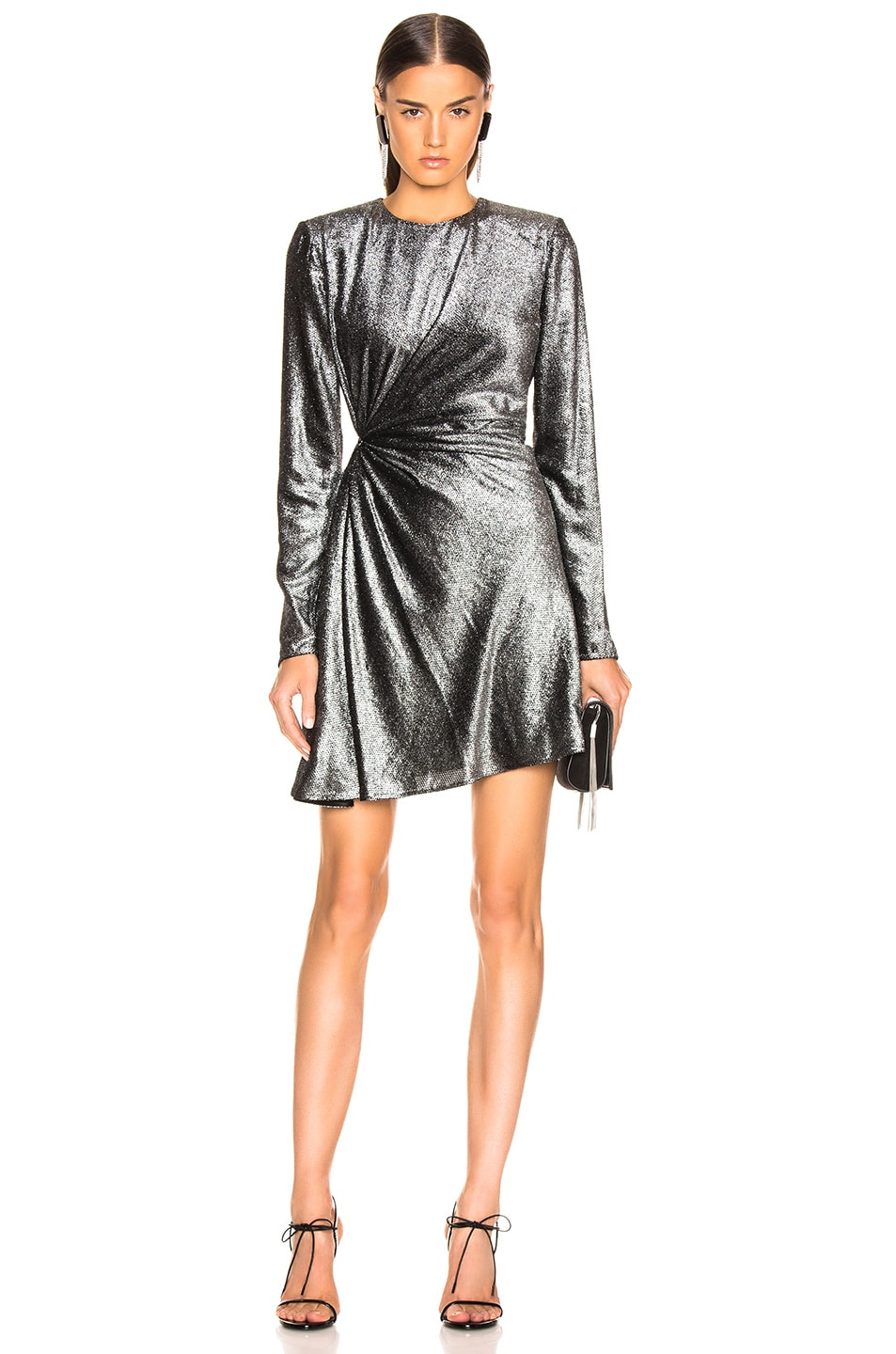 Image 1 of Saint Laurent Knot Detail Metallic Velvet Mini Dress in Black & Silver