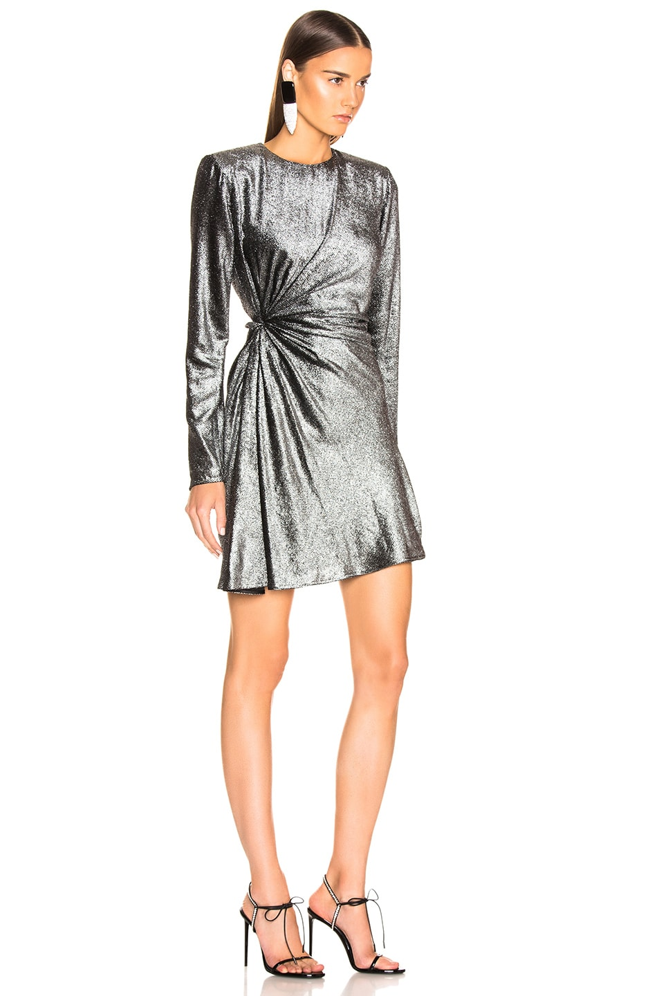 Image 2 of Saint Laurent Knot Detail Metallic Velvet Mini Dress in Black & Silver