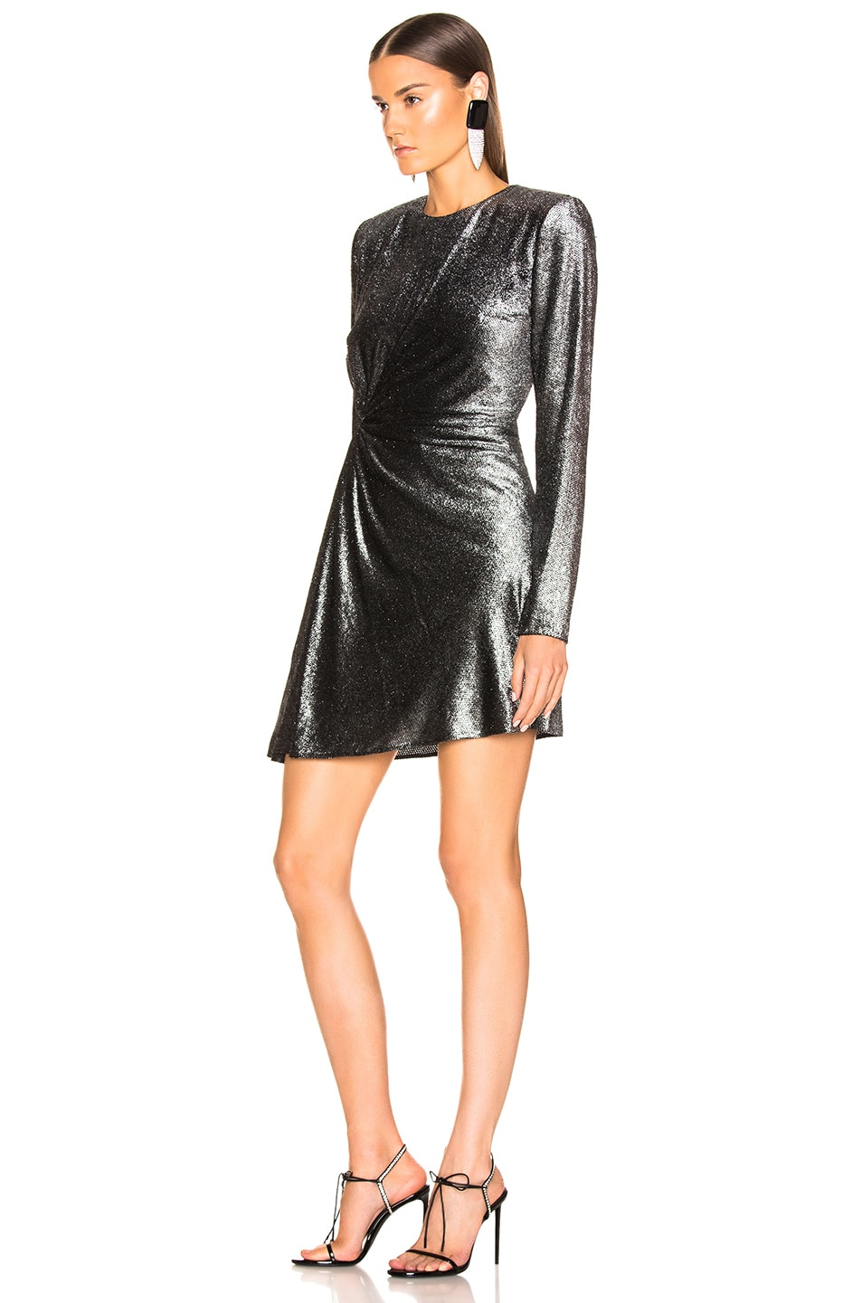 Image 3 of Saint Laurent Knot Detail Metallic Velvet Mini Dress in Black & Silver