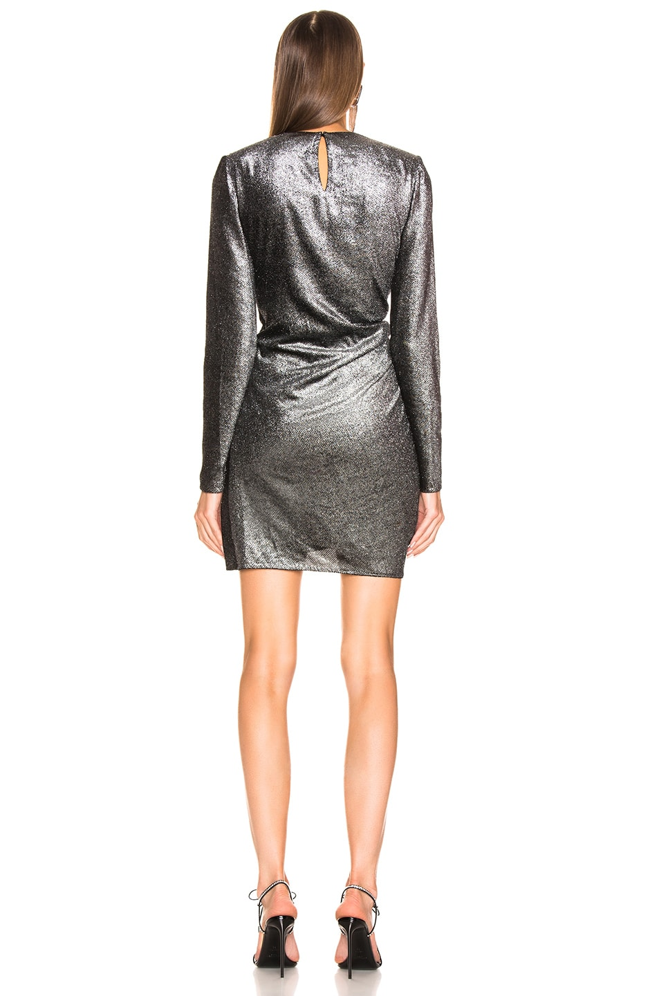Image 4 of Saint Laurent Knot Detail Metallic Velvet Mini Dress in Black & Silver