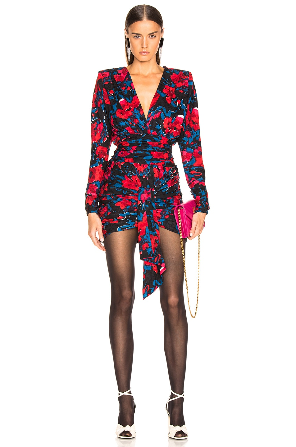 Image 1 of Saint Laurent Floral Draped Plunging Mini Dress in Black, Red & Blue