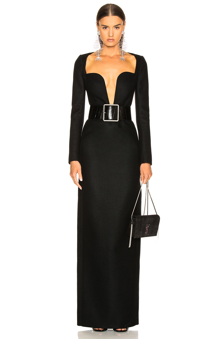 Image 1 of Saint Laurent Wool Plunging Long Sleeve Gown in Black