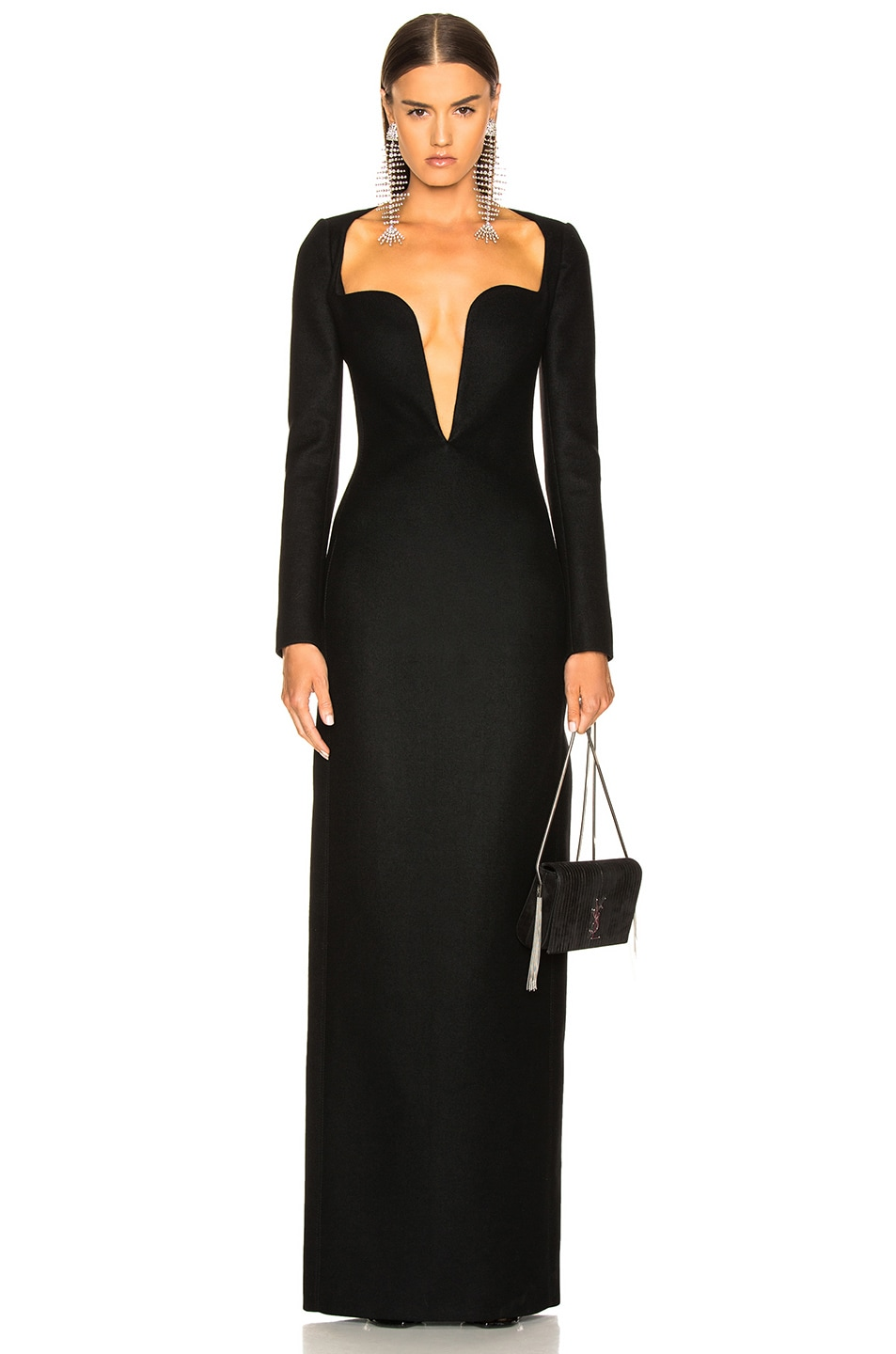 Image 2 of Saint Laurent Wool Plunging Long Sleeve Gown in Black