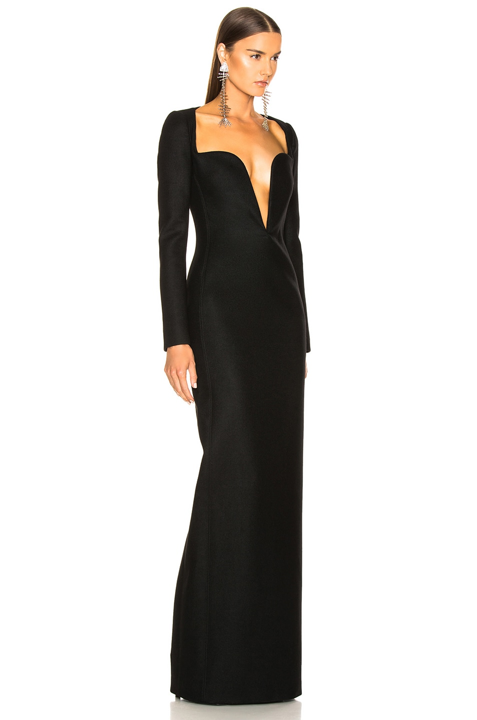 Image 3 of Saint Laurent Wool Plunging Long Sleeve Gown in Black
