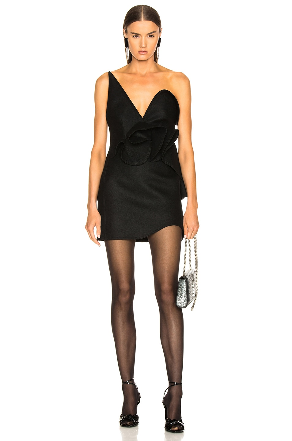 Image 1 of Saint Laurent Wool Strapless Ruffle Trim Mini Dress in Black