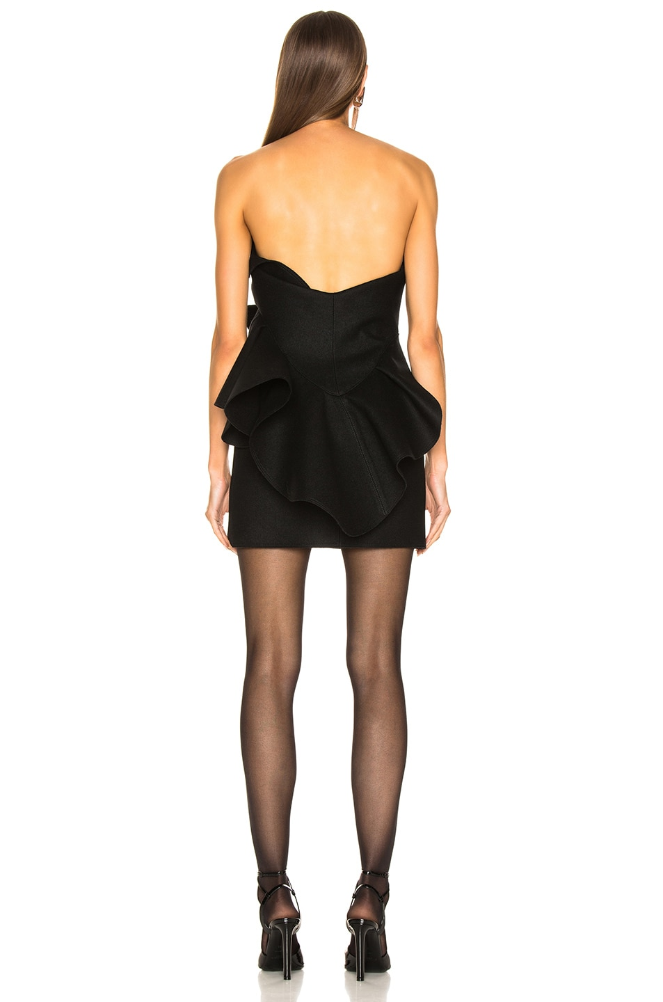 Image 4 of Saint Laurent Wool Strapless Ruffle Trim Mini Dress in Black