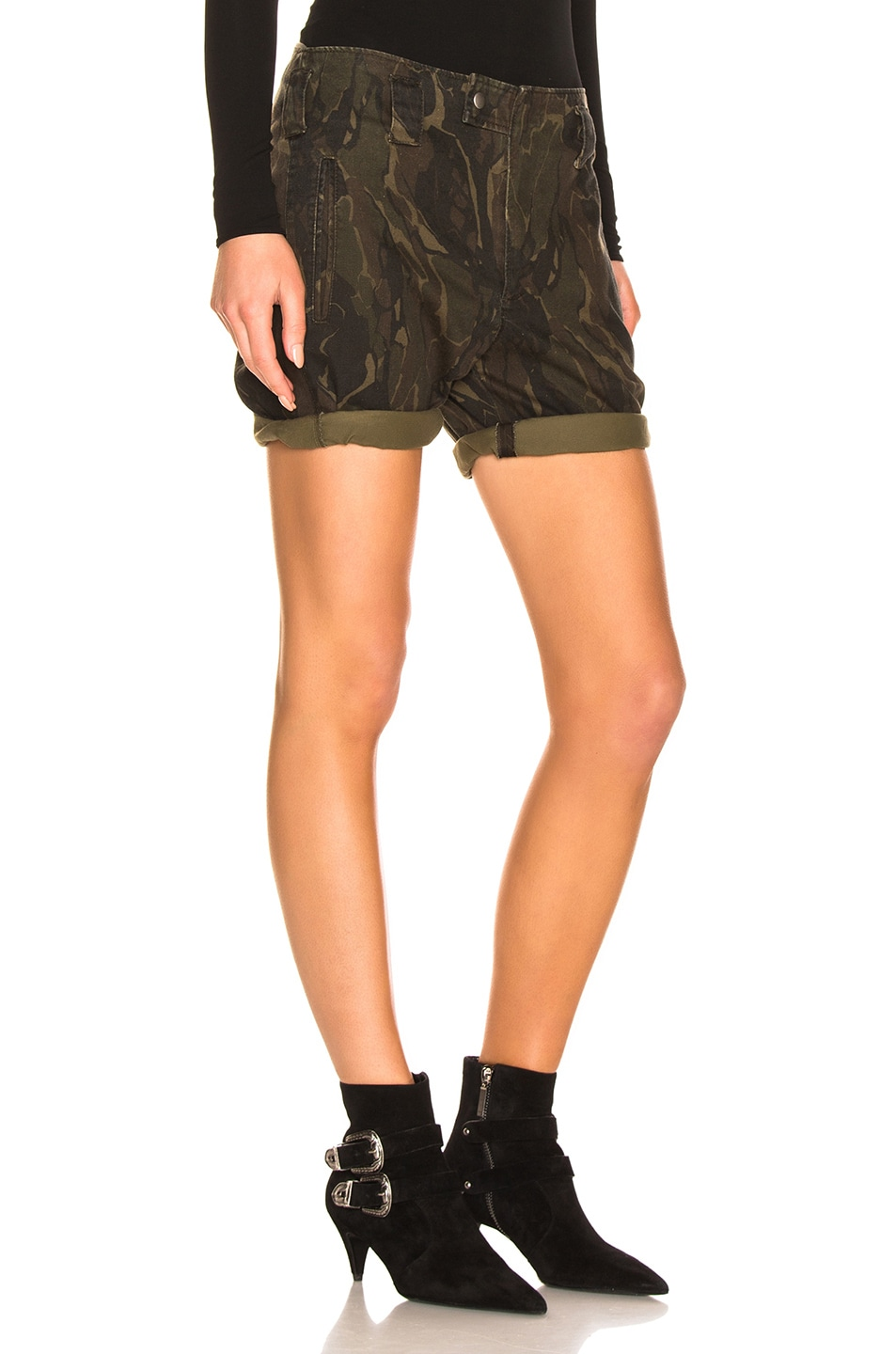 Image 2 of Saint Laurent Camo Shorts in Militaire
