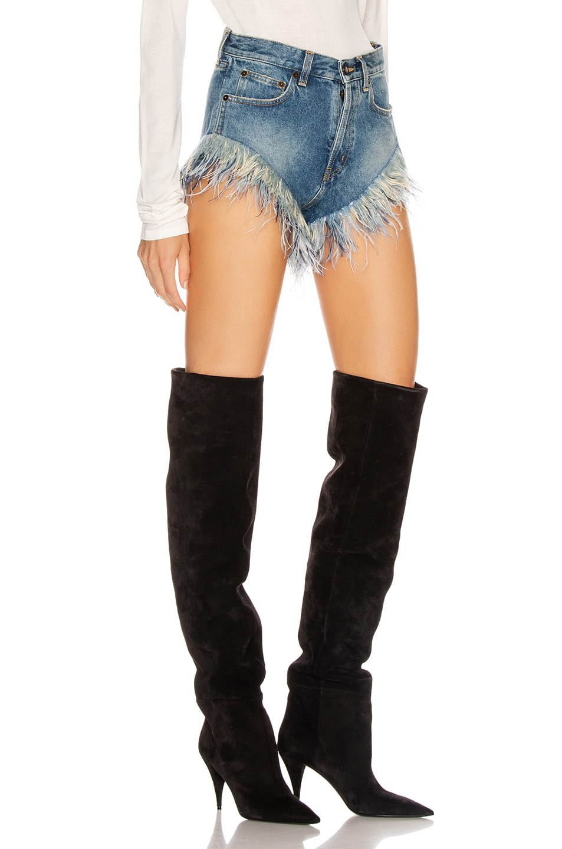 Image 2 of Saint Laurent Slim Fit Feathers Short in Arizona Light Blue