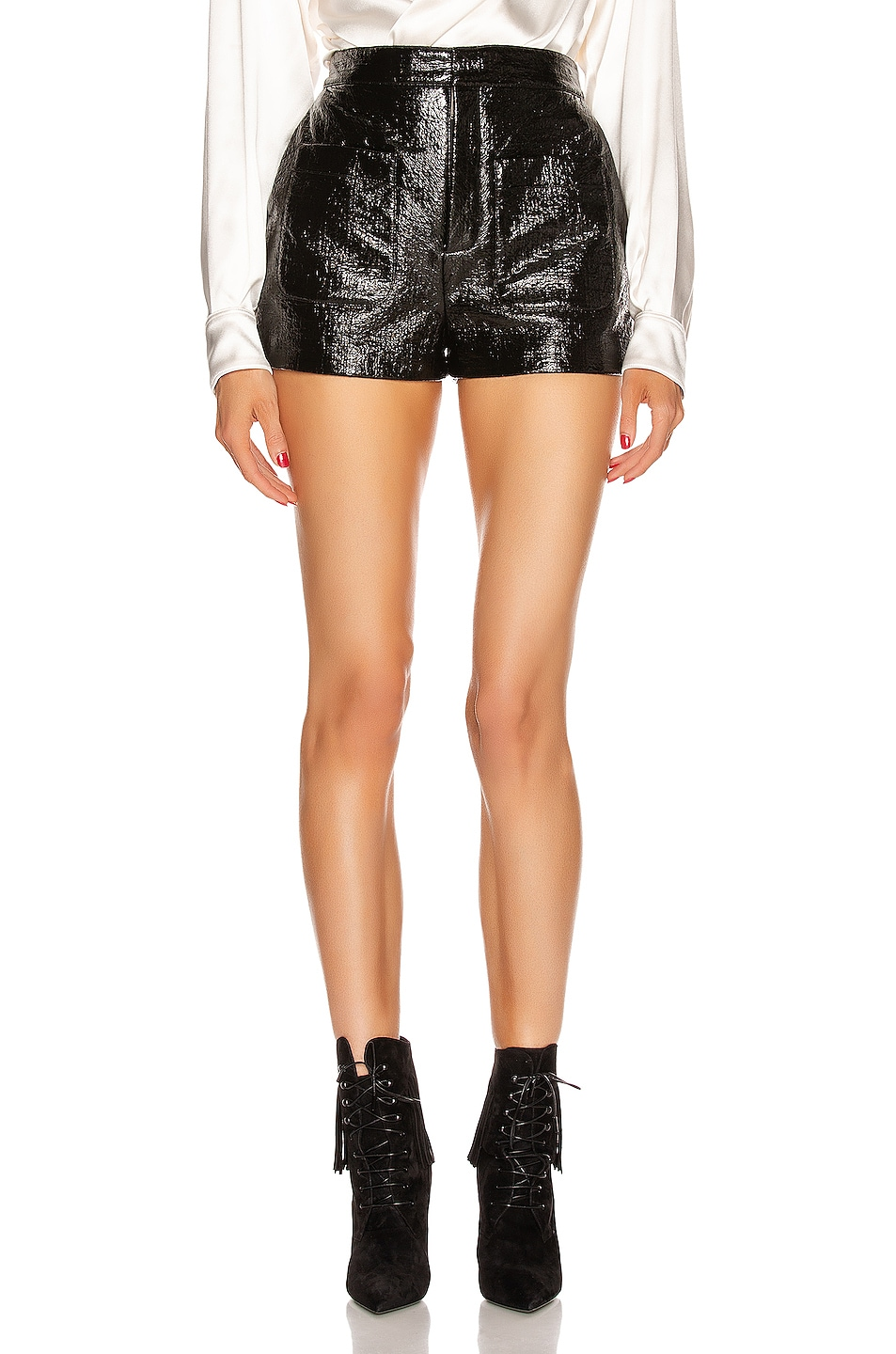 Image 1 of Saint Laurent Leather Short in Black