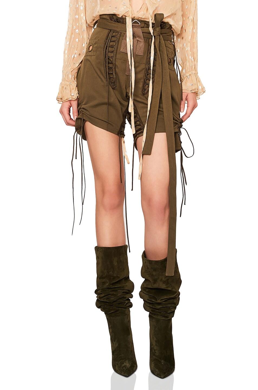 Drawstring Tie Detail Shorts, Green