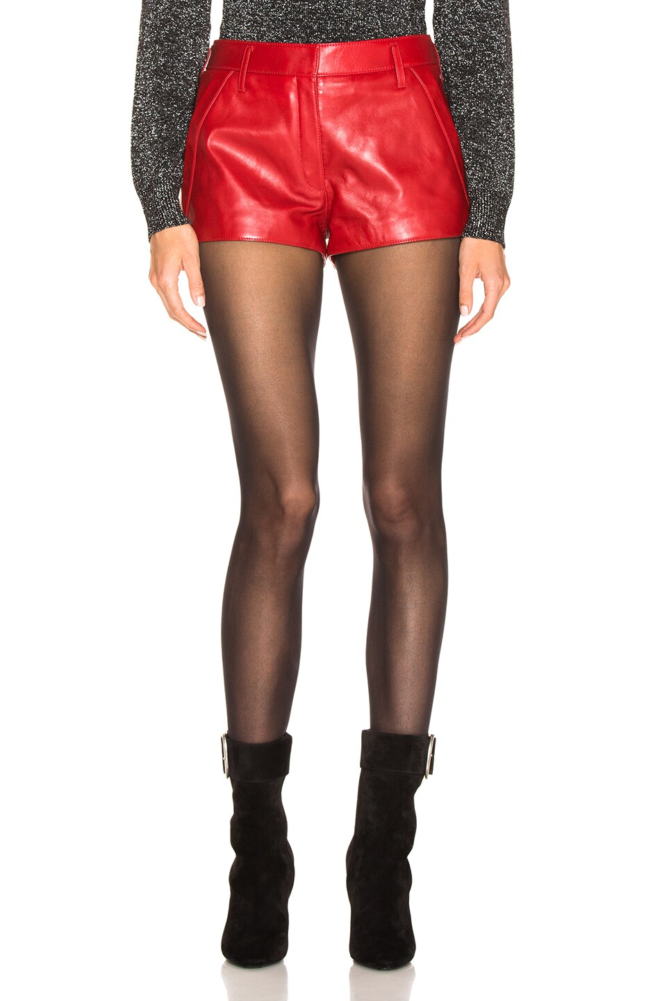 Image 1 of Saint Laurent Leather Shorts in Red