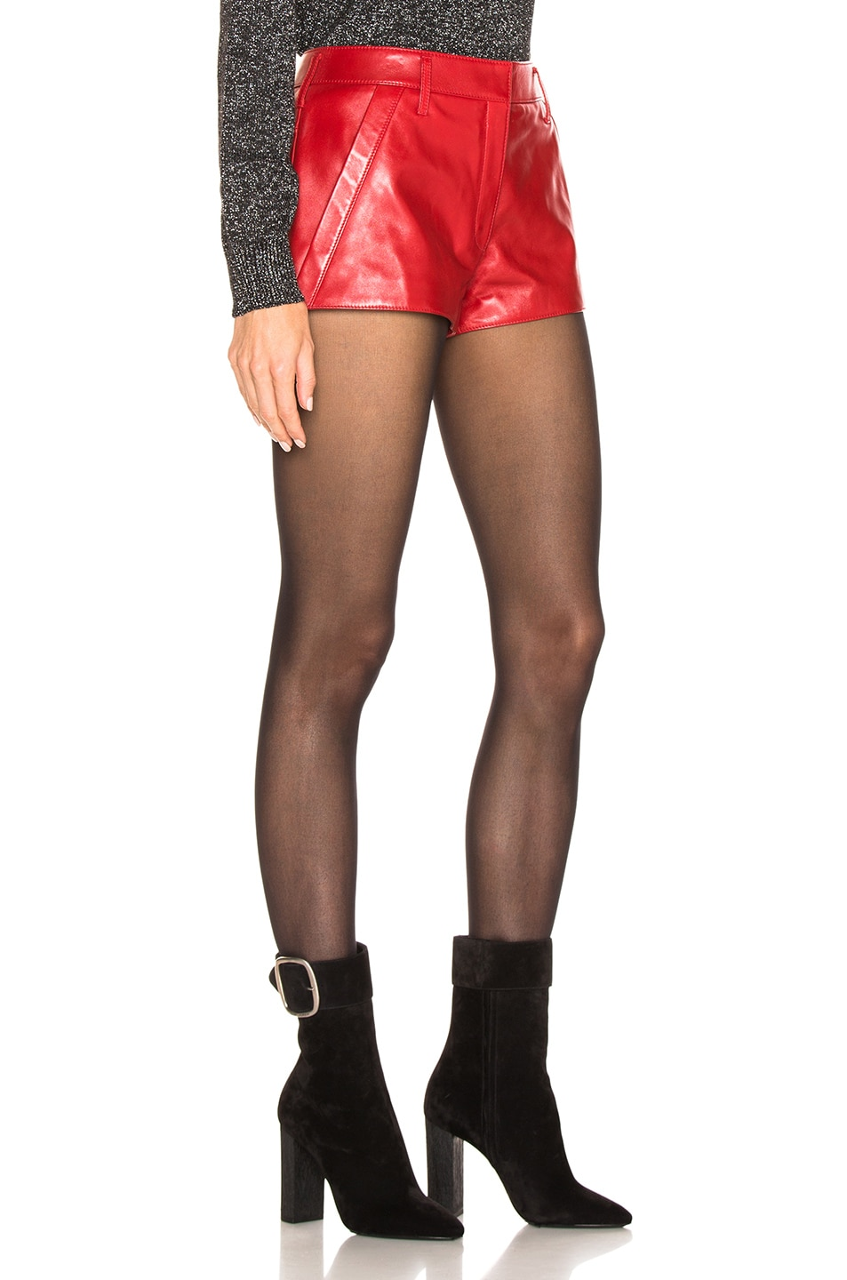 Image 2 of Saint Laurent Leather Shorts in Red