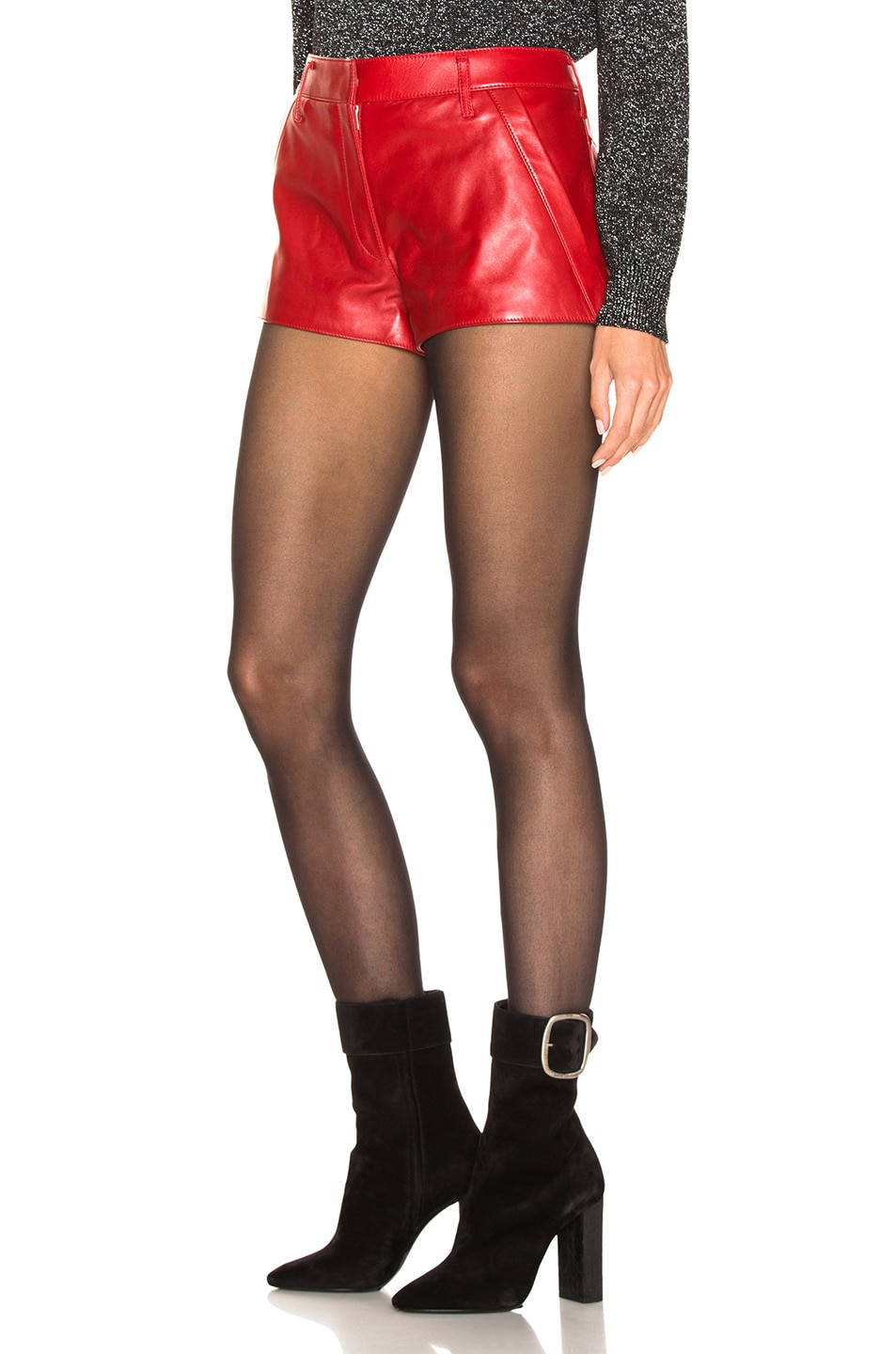 Image 3 of Saint Laurent Leather Shorts in Red