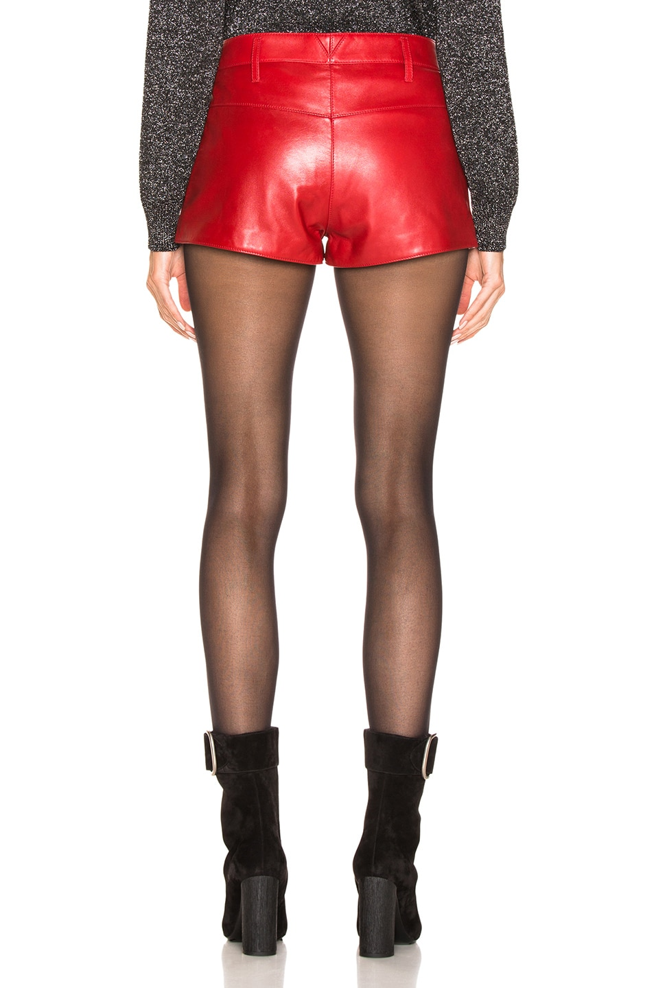 Image 4 of Saint Laurent Leather Shorts in Red