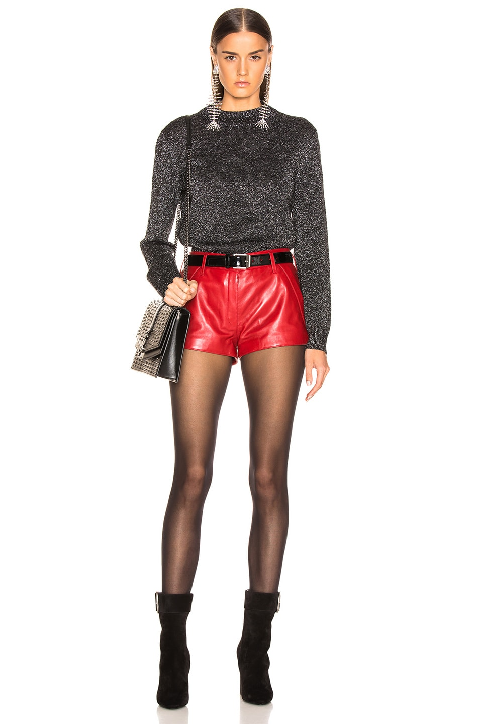Image 5 of Saint Laurent Leather Shorts in Red