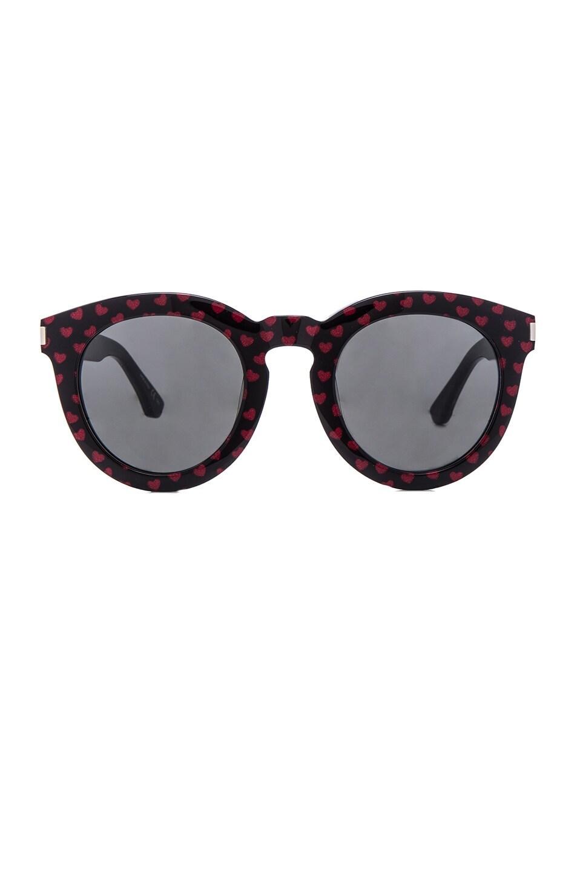 5773b7c6fe Image 1 of Saint Laurent SL 102 Sunglasses in Black   Red Hearts