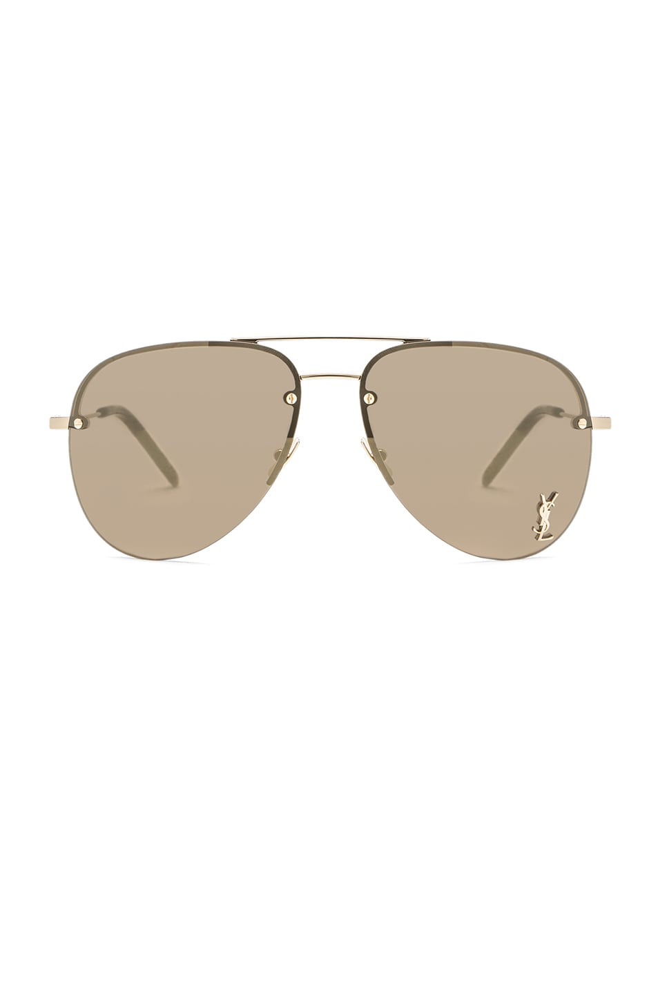 6cfe2475a2 Image 1 of Saint Laurent Classic 11 M Sunglasses in Gold   Bronze Mirror
