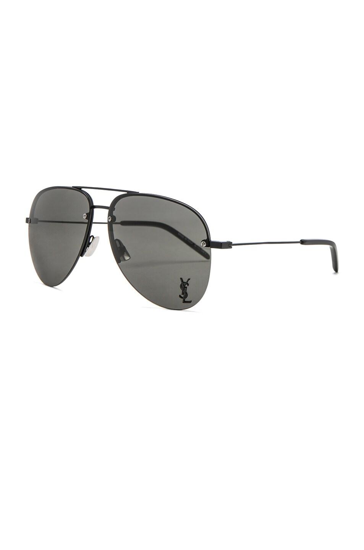 Image 2 of Saint Laurent Classic 11 M Sunglasses in Semimatte Black & Grey