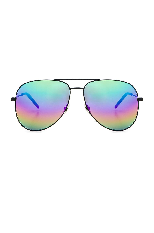 afec7a0cfa Image 1 of Saint Laurent Rainbow Aviator Sunglasses in Matte Black   Rainbow