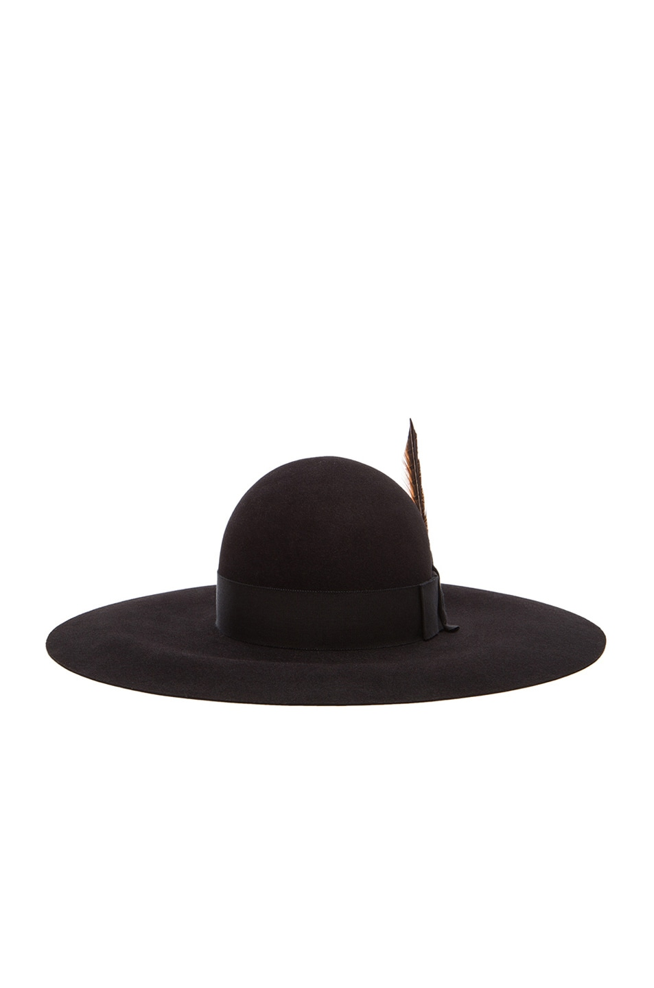 Image 1 of Saint Laurent Felt Hat with Feather in Black