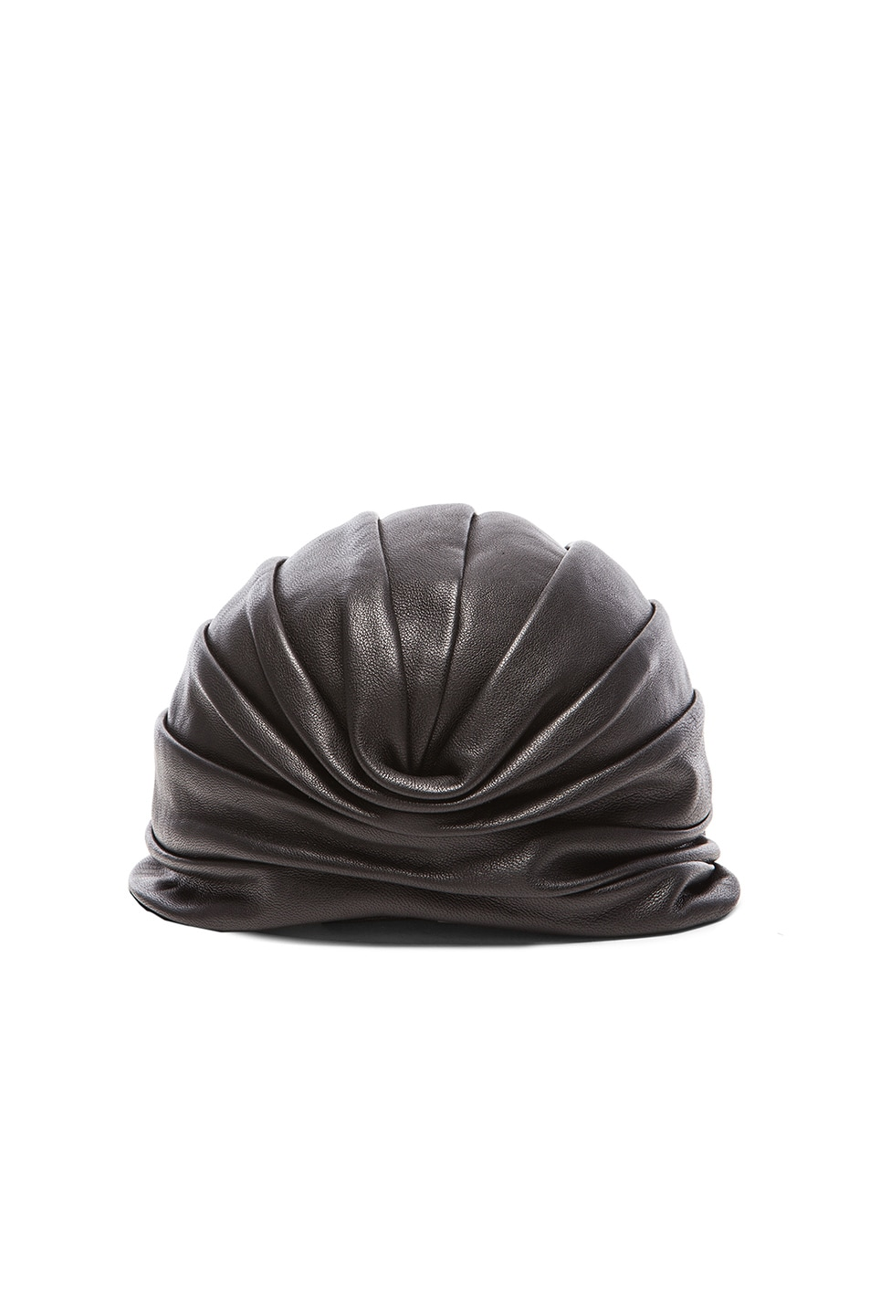 Image 1 of Saint Laurent Leather Drape Turban in Black
