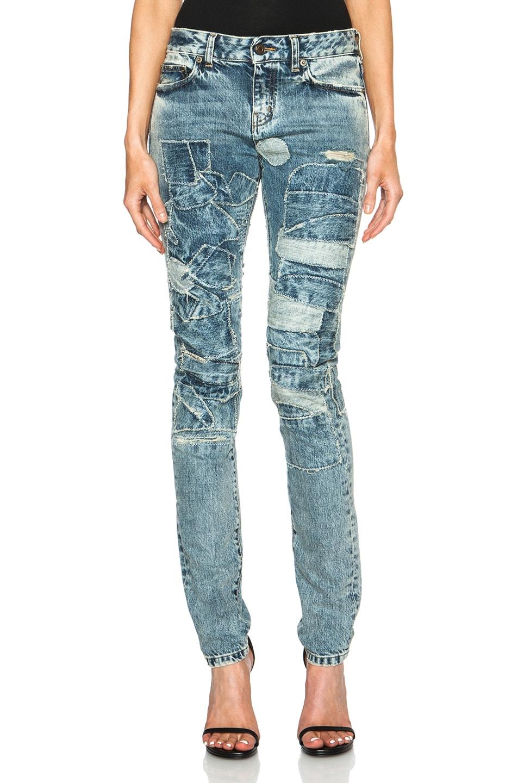 Image 1 of Saint Laurent Patchwork Denim Jean in Blue