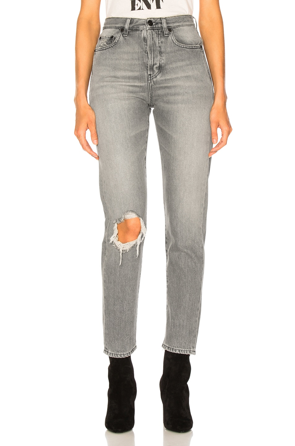 Image 1 of Saint Laurent Slim Fit Knee Hole Jeans in Dirty Light Grey