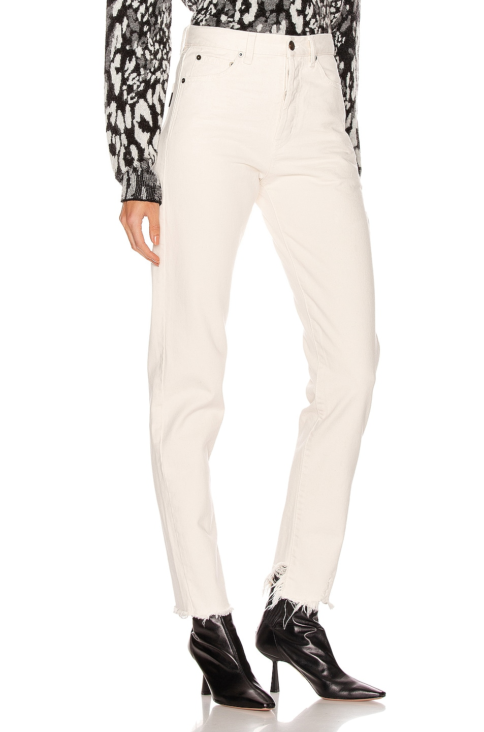 Image 2 of Saint Laurent Destroyed Skinny Jean in Sandy White