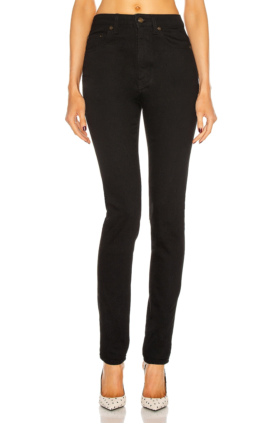 Image 1 of Saint Laurent High Waist Skinny Jean in Worn Black
