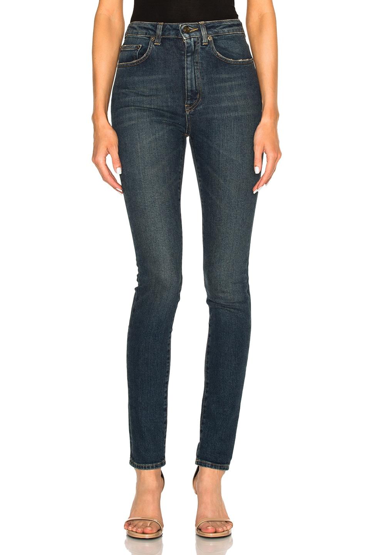 Image 1 of Saint Laurent Skinny 5 Pocket High Waist in Dirty Dark Blue